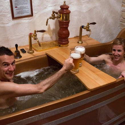 Immerse yourself in a true spa naked beer. Bernard Beer Spa. Prague. One of the most representative aspects of the Czech Republi